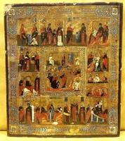 Ünnepi Ikon : Krisztus feltámadása és a tizenkét nagy ünnep, eredeti orosz ikon,36 x 31 cm