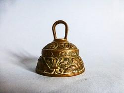 Antik sárgaréz  latin felíratos asztali csengő,cselédhívó,heraldikai jelképekkel Peerage