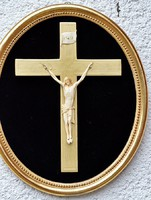 22. Antik, CSONT (elefántcsont?) Jézus Krisztus, kereszt, Korpusz (12cm),  34cm-es ovális fakeretben