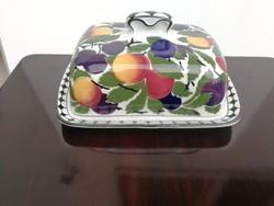 Majolika vajtartó 2 db.ráadás tányérrl régi Villeroy &Boch gyümölcs dekorral