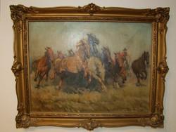 Viski János Lovak festménye eladó
