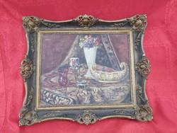 Antik Zsolnay tárgyas festmény.
