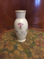 Hollóházi virág mintás porcelán váza