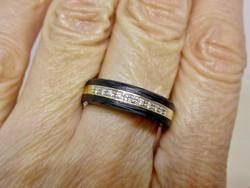 Nagyon különleges iparművész 0.13ct  gyémánt 14kt arany gyűrű