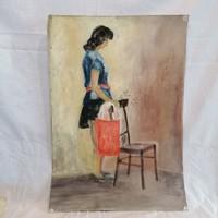 Tokodi Antal nő szatyorral festmény