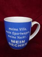 MEIN BECHER feliratú német porcelán bögre, 9 cm magas, 8 cm átmérővel.