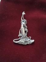 Szecessziós stílusú nagyméretű antik sterling medál