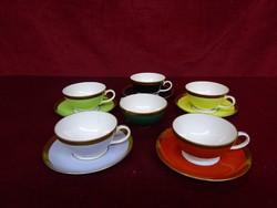 W minőségi német porcelán, színes kávéscsésze + alátét. Csésze átmérője 7,5 cm.