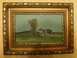 Öregasszony kecskével, olaj - karton