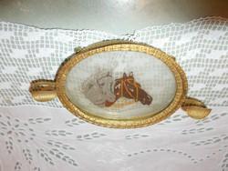 Gobelin betétes lovas hamutartó