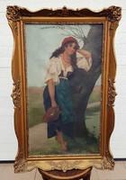 """""""Vízhordó lány"""" Jelzett nagyméretű olaj festmény, vásznon kerettel 68x105 cm"""