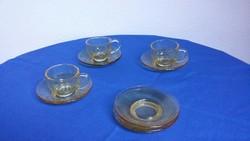 Halvány borostyán színű üveg kávés csésze és tányér