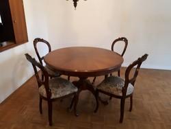 Antik Barok poklábú étkezőasztal 4 székkel