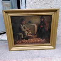 Horváth G. Andor olaj-vászon festmény , életkép