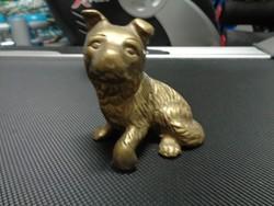 Elegáns réz kutya szobrocska