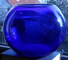 Királykék gyönyörű nehéz gömb üvegváza