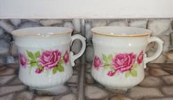 Ritka formájú porcelán Rózsás Zsolnay bögrék, bögre, nosztalgia darabok, paraszti dekoráció