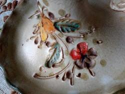 Kézzel festett,színes karcolt virágmintás,kerámia  gyertyatartó