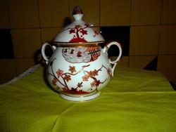 Antik tradicionális japán mintával  kézzel festett porcelán nagy méretű cukortartó