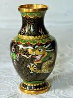 Gyönyörű sárkány motívumos rekeszzománc váza, Cloissone
