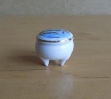 Franciaország Gérardmer emlék pici porcelán arany szélű ékszertartó gyűrűtartó 3 cm (2/p)