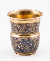 Antik orosz aranyozott ezüst kupica (nielló díszítéssel)