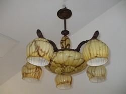 Régi réz art deco márványos csillár lámpa