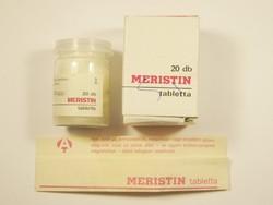 Retro Meristin tabletta papír doboz tájékoztató és üveg - Alkaloida Gyógyszergyár - 1980-as évekből
