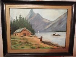 Farkas Mihály festmény, és hátoldalán másik alkotó műve