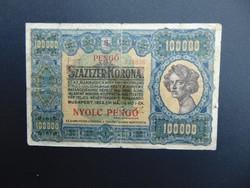 100000 korona 1923 8 pengő Felülbélyegzés RRR !