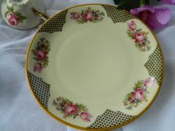 Antik rózsás süteményes tányér, Johann Seltmann, krém színű