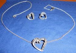 Apró köves ezüst ékszer szett lánc fülbevaló