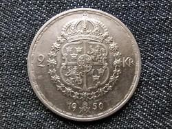 Svédország V. Gusztáv (1907-1950) .400 ezüst 2 Korona 1950 TS / id 16307/
