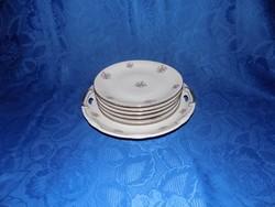 Jelzett apró virág mintás porcelán tányér készlet (2p)