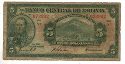 5 bolivianos 1928 1. kiadás Bolivia