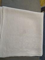 6-8 személyes damaszt terítő, damasztabrosz hímzett monogrammal, 100 éves
