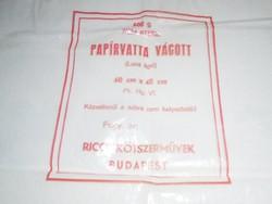 Retro Papírvatta vágott nejlon nylon zacskó csomagolás - Rico Kötszerművek Budapest - 1980-as évek