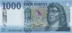 1000 Forint 2017 - DG 0000048 - UNC - Alacsony sorszám
