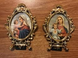 Mária Kis Jézussal 2 db kitámasztható Olasz kép.
