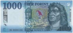 1000 Forint 2017 - DL 0000166 - UNC - Alacsony sorszám