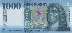 1000 Forint 2017 - DM 0000055 - UNC - Alacsony sorszám