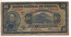 10 bolivianos 1928 1. kiadás Bolivia