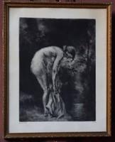 """Varga Nándor Lajos """"Fürdés után"""" női akt , antik rézkarc"""