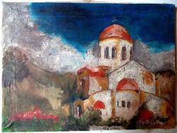 """BALLA György Károly (1947-) """"Kisvárda Templom"""" olaj/vászon 30x40cm"""