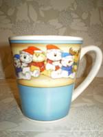 Bögre vásár kiárusítás:Gyerek maci mintás porcelán reggeliző bögre 3dl.