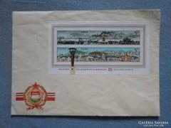 1970 felszabadulás bélyeg blokk vörös csillagos borítékon
