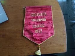 """Retro """"szocialista vonalépitő szakasz"""" 1977 zászló"""