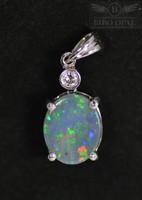 18 karátos fehér arany medál gyémánttal és természetes Ausztrál fekete opál kővel - specialistától