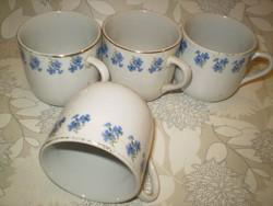 Bögre vásár kiárusítás: 4 db.kék búzavirág mintás porcelán reggeliző bögre 2dl.