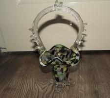 Muránói jellegű üveg kosár váza hibátlan